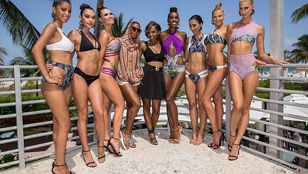 MIAMI BEACH, FL - JULY 18: Designer Keva Johnson and Models posing at the Keva J. 2016 Collection during SWIM MIAMI Fashion Week at Ritz Carlton Hotel on July 18, 2015 in Miami Beach, FL