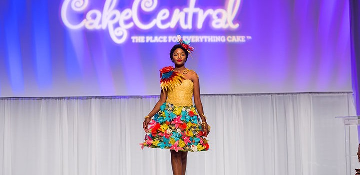A model walks the runaway in edible couture made of sugar and isomalt at Cake Central's Sugar Arts Fashion Show at the Americas Cake & Sugarcraft Fair Friday, Sept. 18, 2015 at the Orange County Convention Center in Orlando, Fla.