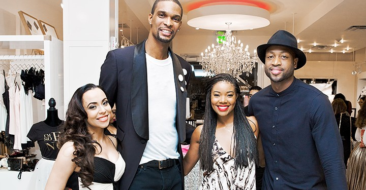 Adrienne and Chris Bosh, Gabrielle Union and Dwyane Wade