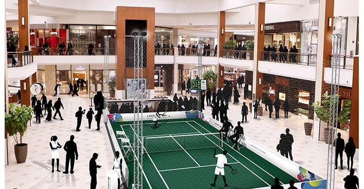MSM Miami Shoot MAgazine-AVentura Mall-Miami Open- Tennis-LACOSTE Pop-up Tennis Court in Aventura Mall - Rendering