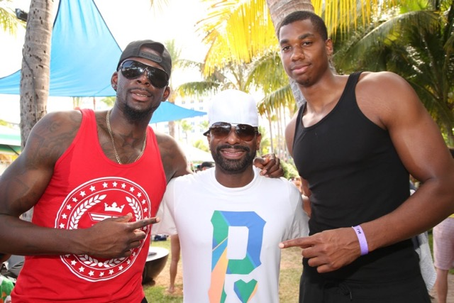 James Ennis (miami heat), DJ Irie, Hassan Whiteside (miami heat) - bbq beach bash